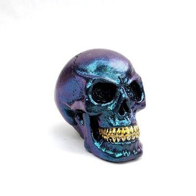 Small Skull Figurine Metallic Blue Decorative Skull Statue 2