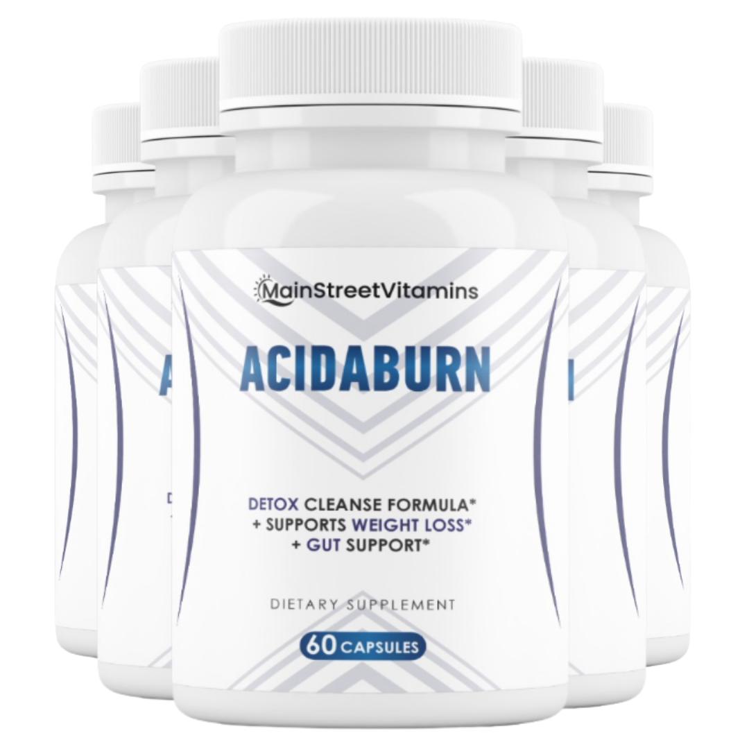 5 Bottles AcidaBurn Detox Cleanse, Weight Loss & Gut Health 60 capsules x 5