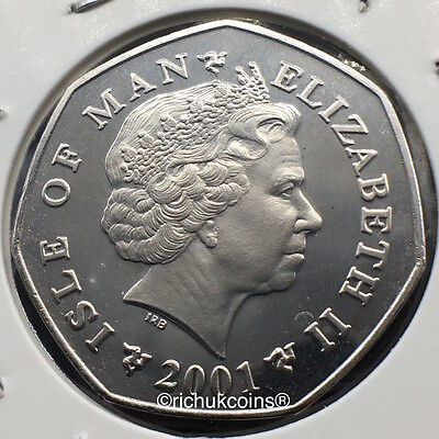2001 IOM Xmas Diamond Finish 50p Coin without die letters