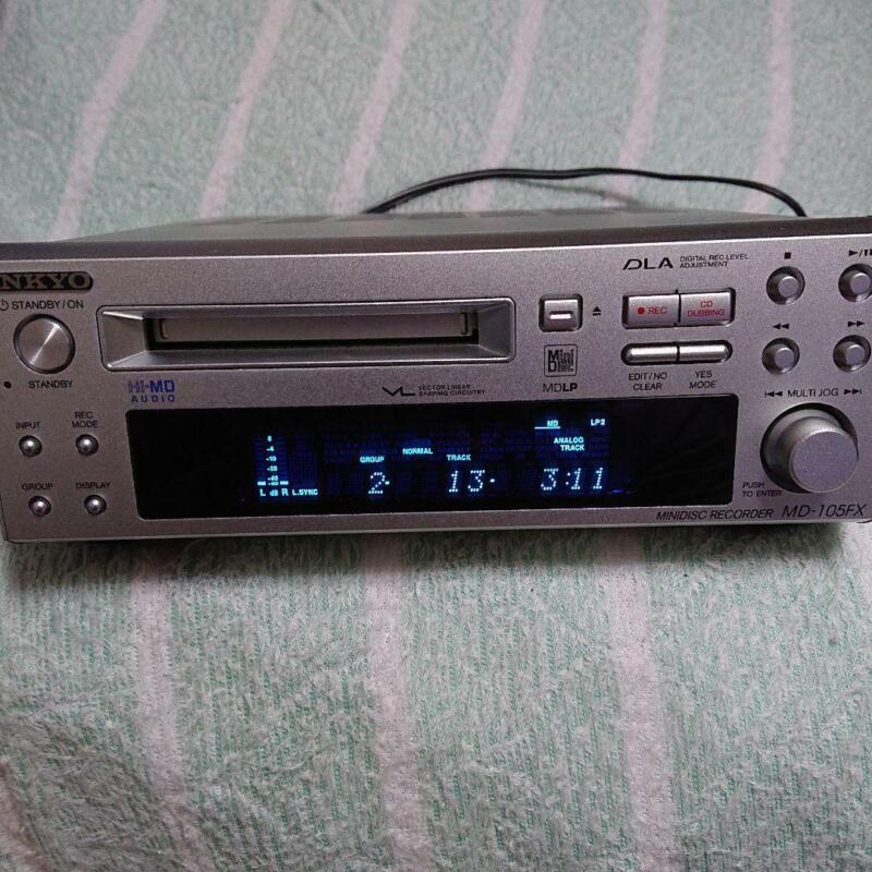 ONKYO MD105FX Hi-MD Mini Disc Recorder Silver High Speed Audio INTEC205 MDLP JP