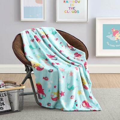 Ultra Soft & Plush Mermaids & Fish Princess Hypoallergenic Fleece Throw Blanket Princess Throw Blanket