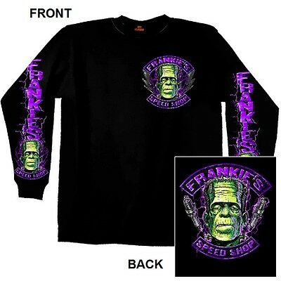 Frankie's Speed Shop LONG SLEEVE T-Shirt Halloween Frankenstein Hot Rod - Hot Rod Halloween