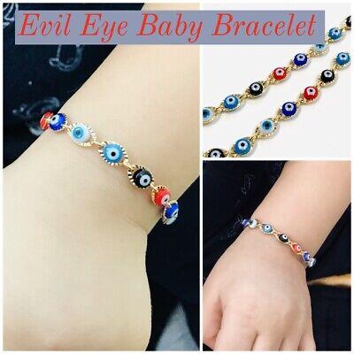 Newborn Baby/Childrens Boys/Girls Gold Filled Evil Eye Bracelet, For Protection Infant Baby Bracelet