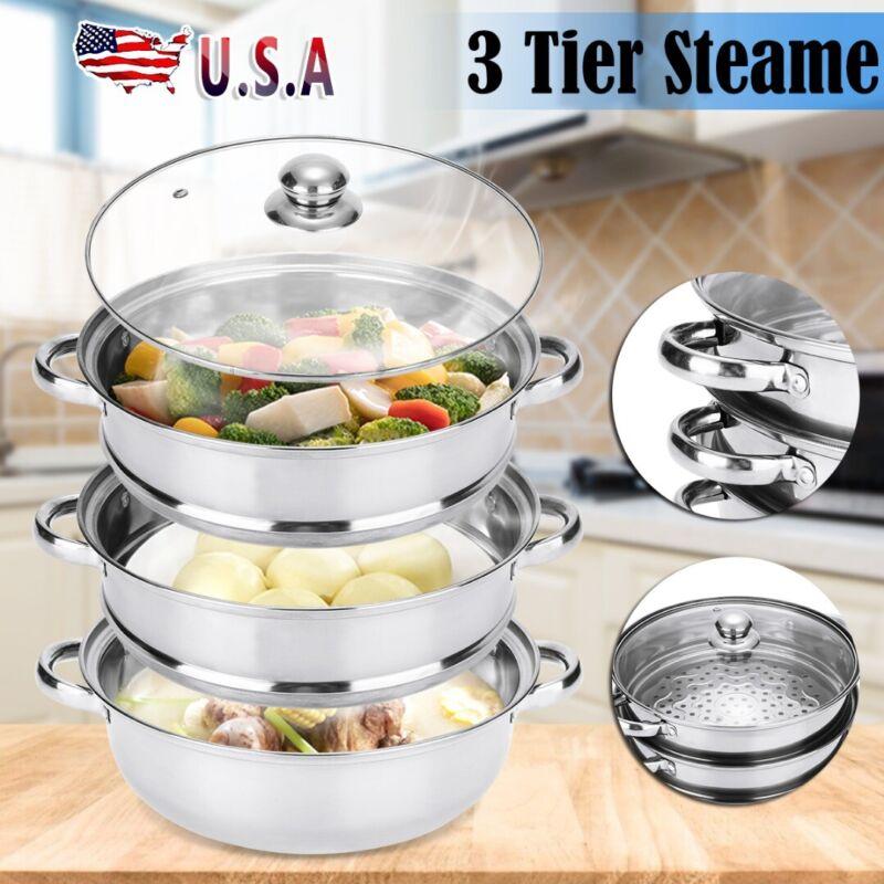 3 Tier Food Steamer Meat Vegetable Cooker Stainless Steel St