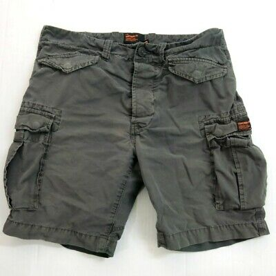 Superdry Cargo Shorts Mens Size S cotton gray button fly