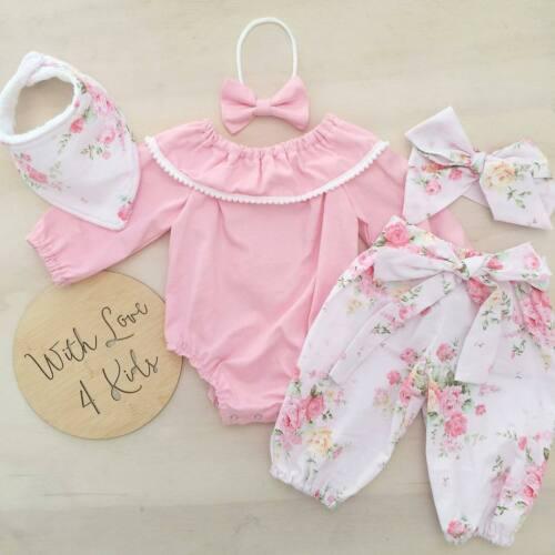 Baby Mädchen Rosa Top + Hosen Outfits Neugeborenen Kinder Baumwolle Kleidung Set