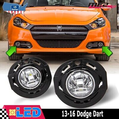 Fits 13-16 Dodge Dart Clear Lens PAIR OE Bumper Replacement LED Fog Light Lamps