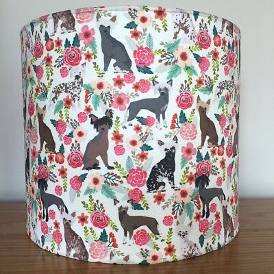 Chinese Crested Dog Print Fabric Lampshade