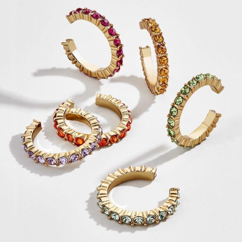 Women Gold Ear Cuff Wrap Crystal Rhinestone Cartilage Clip E