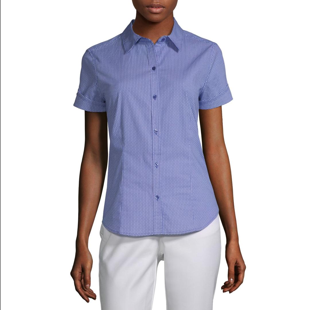 Liz Claiborne Short Sleeve Regular Fit Button-Down Shirt Siz