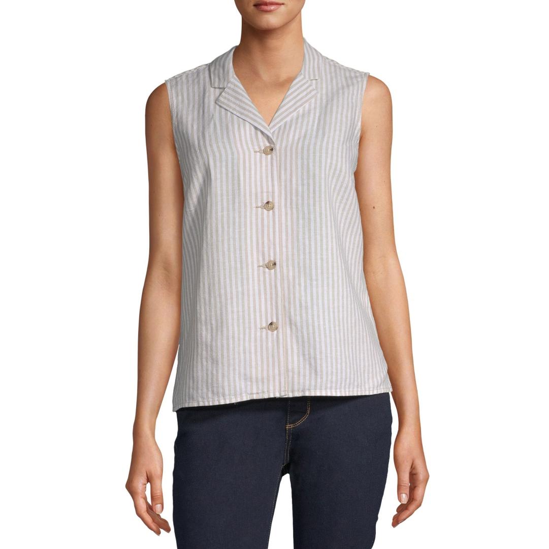 sleeveless faux linen blouse size m flax