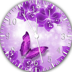 Purple Butterfly Frameless Borderless Wall Clock For Gifts or Home Decor E112