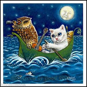 LARGE LIMITED EDITION  OWL AND THE  PUSSYCAT CAT PAINTING PRINT SUZANNE LE GOOD
