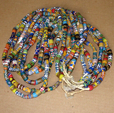African Ghana Asanti Necklace Pendant Glass Sand Beads Strand Necklet Choker Art