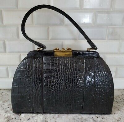 1940s Handbags and Purses History Vintage Genuine Crocodile Skin Black Bag, Kiss Lock; 1940's; Goldline Mint Cond $79.00 AT vintagedancer.com