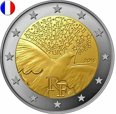 * LOT DE 5 PIECES -- 2 € COMM - UNC - FRANCE 2015 - PAIX