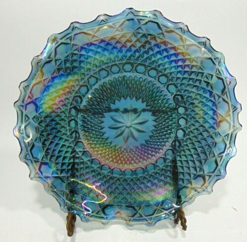 "Vintage Carnival Glass Blue Iridescent 10"" Dish Plate Hobnail Flower In Center"