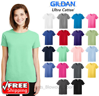 Gildan Ladies Ultra Cotton T-Shirt Comfort Heavy Weight Womens Blank Color 2000L