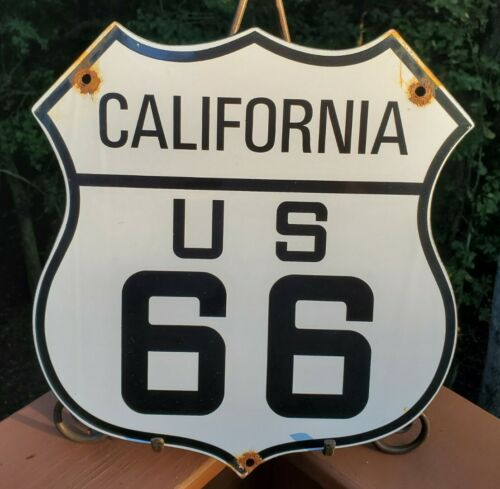 OLD VINTAGE 1950 S CALIFORNIA ROUTE 66 GASOLINE PORCELAIN GAS PUMP HIGHWAY SIGN - $61.00