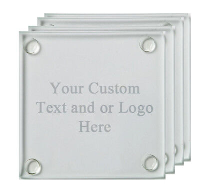 Personalized Glass Coaster Set of 4 Custom Picture Laser Engraved Customized  - Personalized Photo Coasters