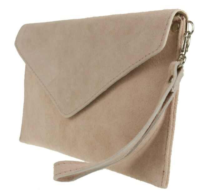Suede Italian Genuine Leather Flat Envelope Rose Gold Clutch Bag ...