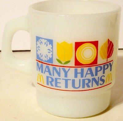 Vintage McDonald's Many Happy Returns Coffee Cup Mug Anchor Hocking