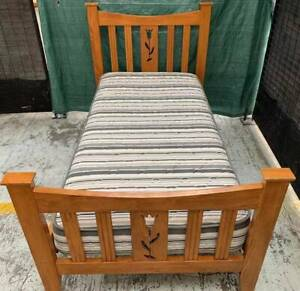 Good condition wooden single bed frame with single mattress for sale