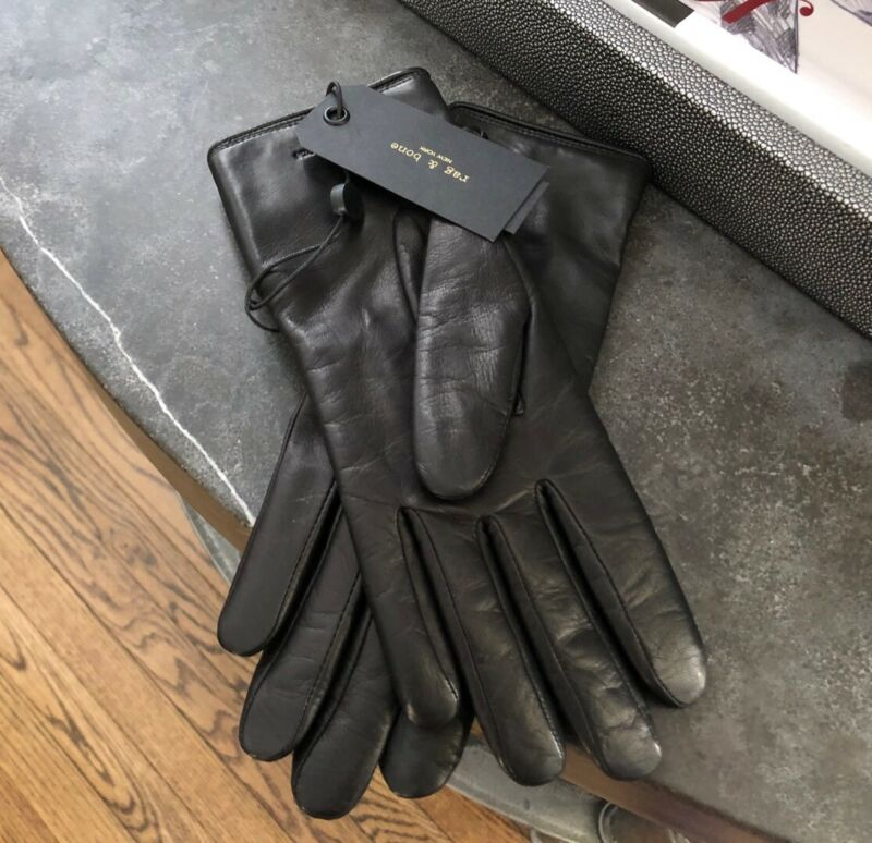 Rag & Bone Leather Snap Gloves in Black Size Medium New With Tags!!