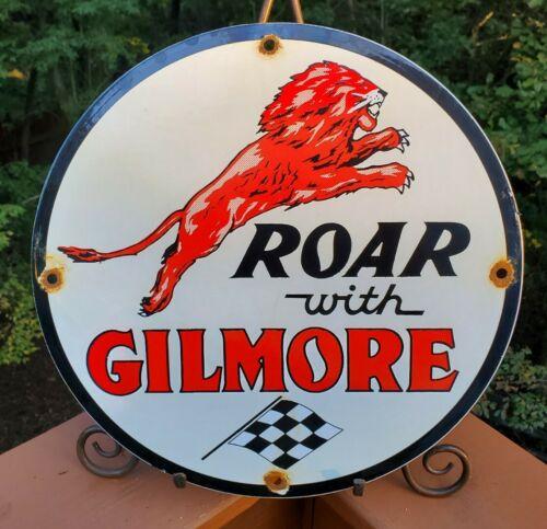 OLD VINTAGE ROAR WITH GILMORE THE RED LION PORCELAIN ENAMEL GAS PUMP SIGN - $9.99