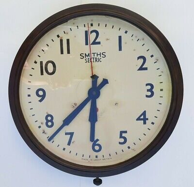 Lovely Vintage Large Smiths Sectric Bakelite Circular Office Wall Clock. Working