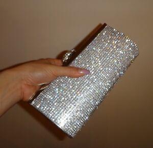 Wedding Bridal Silver Long Clutch Evening Jewelled Diamante Rhinestones Bag NEW