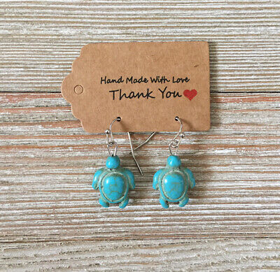 Turquoise Blue Sea Turtle Charm Hook Dangle Earrings