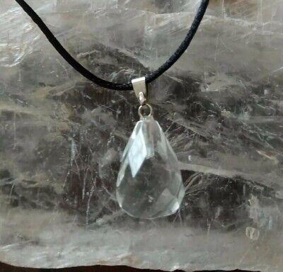 colgante cristal mil caras piedra cuarzo roca con cordón unisex hombre mujer
