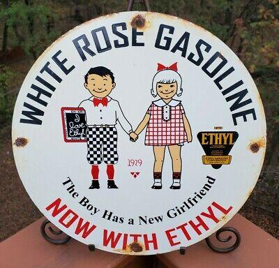 VINTAGE 1929 WHITE ROSE GASOLINE PORCELAIN ENAMEL PUMP STATION SIGN WITH ETHYL
