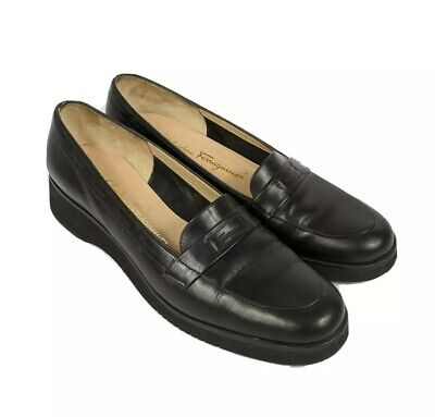 Salvatore Ferragamo Women's Leather Business Loafer Style Shoes Black 9.5 B