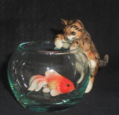 Katze auf Glas mit Goldfisch (#3#), Maßstab 1:12, Tier Miniatur  #15#