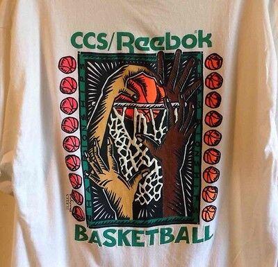 Vintage CCS/Reebok Basketball T-Shirt White Tee Shirt XL Screen Design Reebok Basketball Tee