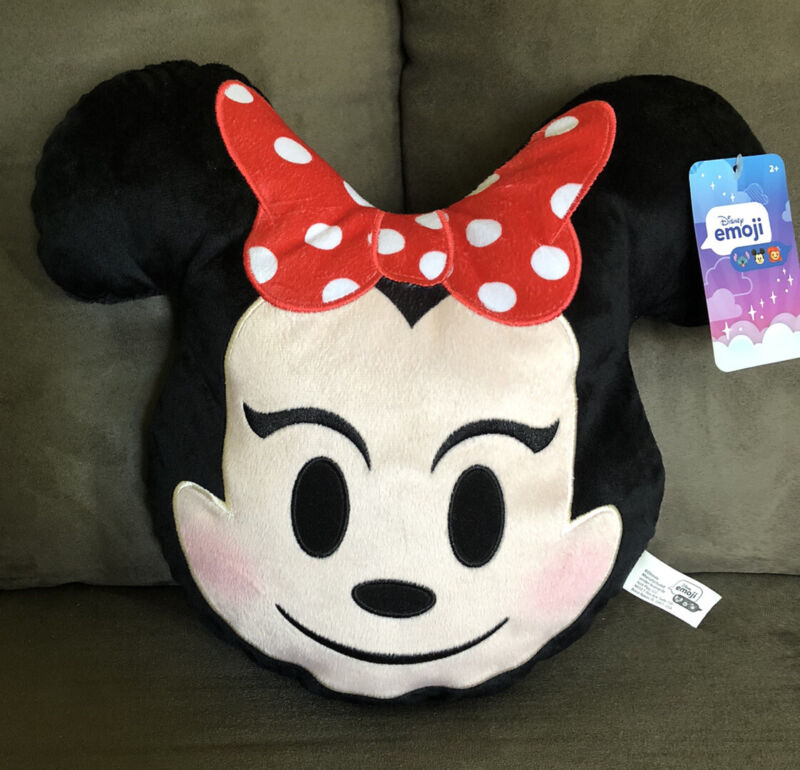 """New NWT Disney Emoji Minnie Mouse Plush Throw Accent Decor Character Pillow 12"""""""
