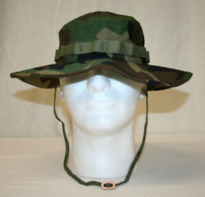 MIL-SPEC BDU WOODLAND CAMO BOONIE JUNGLE HAT WIDE 3