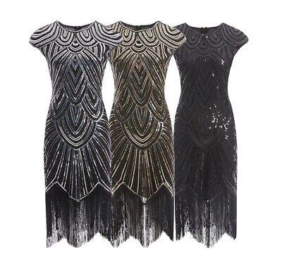 20er Jahre Charleston Kleid Pailletten Fransen Flapper Gatsby 20's Damen Kostüm