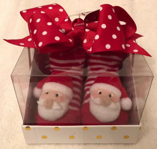 Baby's First Christmas: Santa Rattle Toe Socks With Bow He