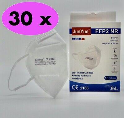 30 Stück Einzelverpackt FFP2 Maske Atemschutzmaske Partikelfiltermaske EU CE JY