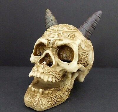 Demon Skull Head Figurine Statue Halloween Decor Tattoo Celtic Knot Horn Skull  - Celtic Halloween Decorations