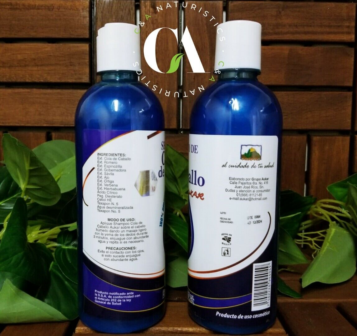 Shampoo de Cola de Caballo100% Natural 500ml. Marca Aukar (2Pack) Para Crecimien 1