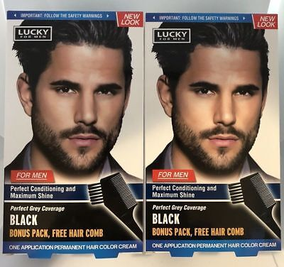 Lot of 24 LUCKY FOR MEN Permanent Hair BLACK Color Hair Dye True Color for Men for sale  Shipping to India