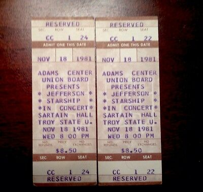 Two unused 1981 Jefferson Starship Concert tickets