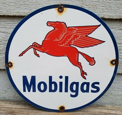 OLD VINTAGE MOBILGAS GASOLINE MOTOR OIL PORCELAIN ENAMEL GAS PUMP ADVERTISE SIGN