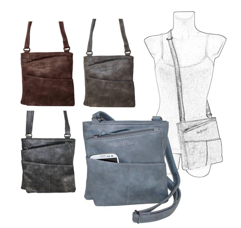 Raffinierte kleine Damen Umhängetasche Handtasche  Ausgehtasche v. Farben BS0*