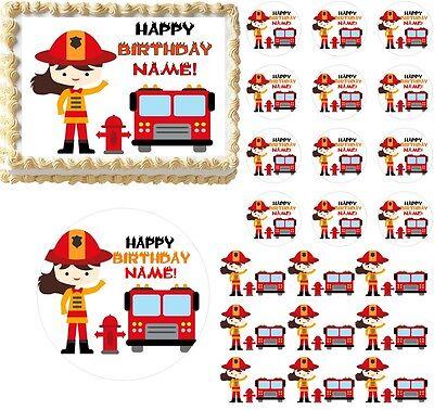 Firefighter GIRL Fire Truck Theme Edible Cake Topper Image Frosting Sheet NeW! - Fire Truck Cake