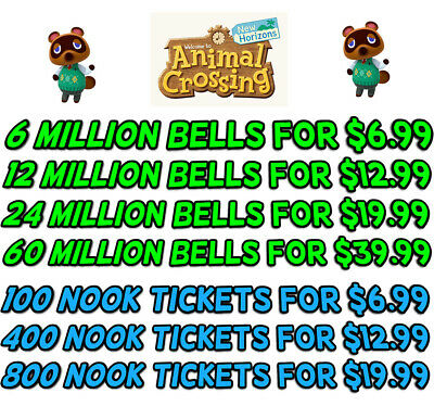 Animal Crossing New Horizons Bells, Nook Miles, Fish Bait - Fast Delivery!